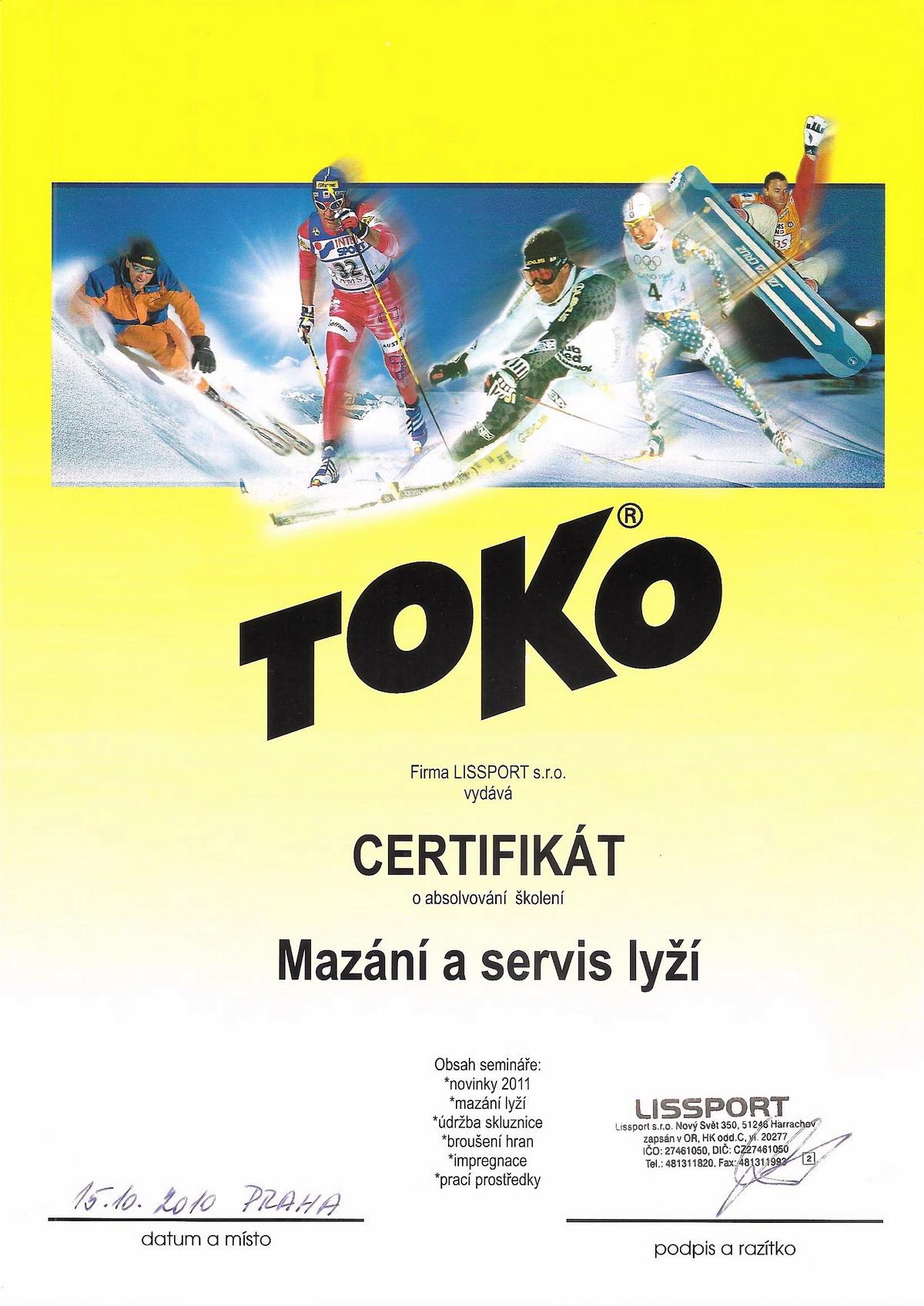 Toko certifikát