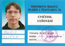 Martin Klička, cvičitel lyžování - osvědčení