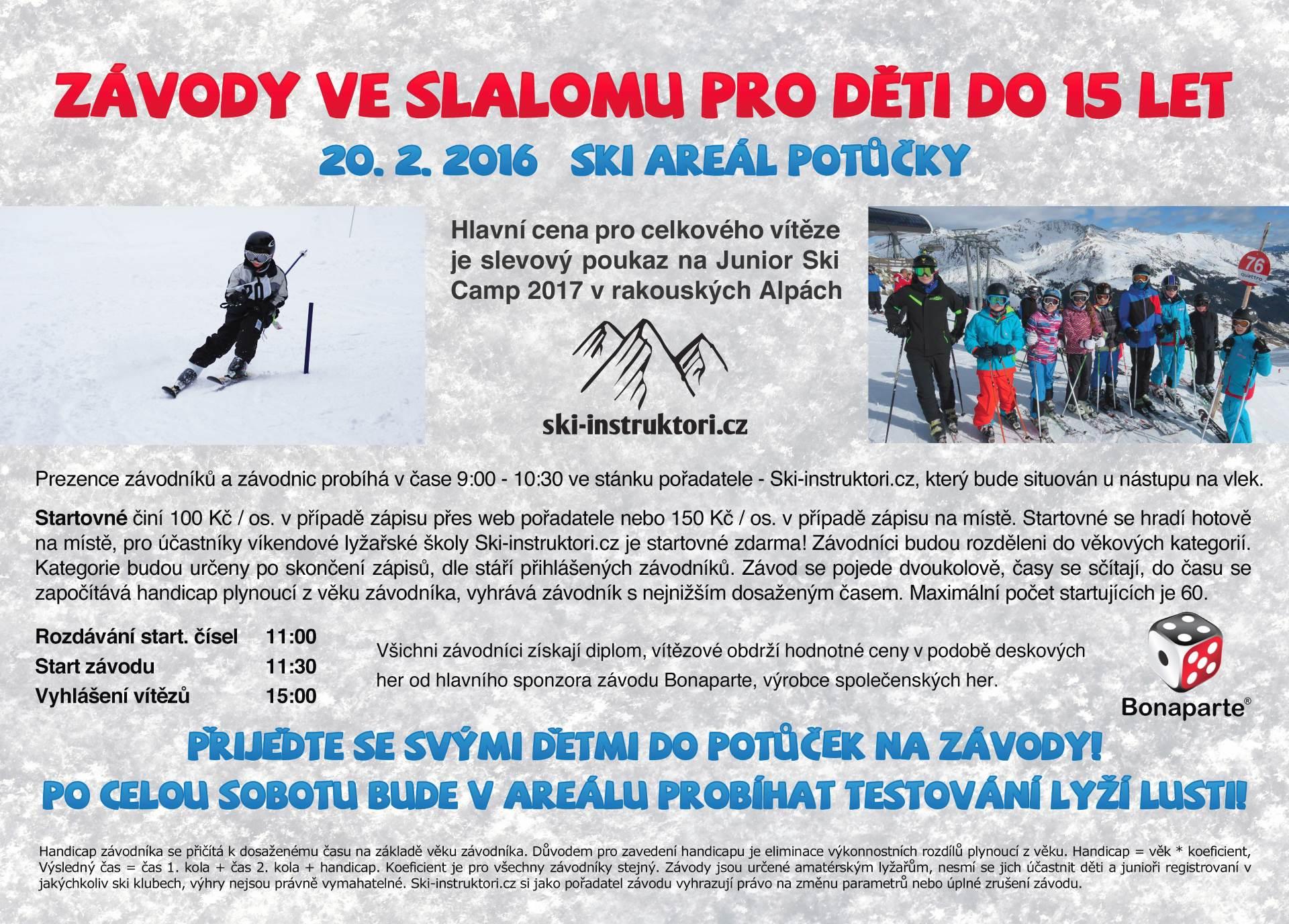 Závody ve slalomu pro děti do 15 let